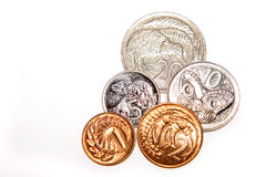 New Zealand coins stock photo