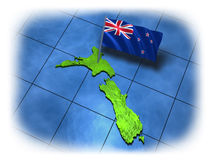 New Zealand country with its flag Stock Images