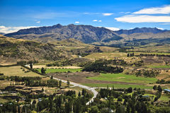 New zealand countryside. Landscape of rolling hills stock photos