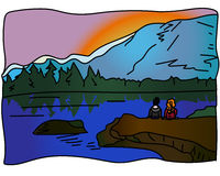 New Zealand. Couple in love looking at mount and lake at New Zealand royalty free illustration