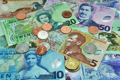 New Zealand Currency Dollar Notes & Coins Money. New Zealand currency including five, ten, twenty and fifty dollar notes all featuring famous New Zealanders Stock Photos