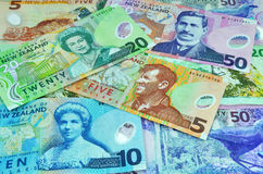 New Zealand Currency Dollar Notes Money. New Zealand currency including five, ten, twenty and fifty dollar notes all featuring famous New Zealanders including Stock Image