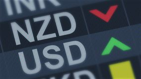 New Zealand currency falling, American dollar rising, exchange rate fluctuations. Stock photo stock photos