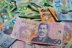 New Zealand Currency Notes background stock images