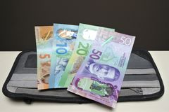 New Zealand Currency Notes on a wallet royalty free stock photography