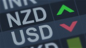 New Zealand currency rising, American dollar falling, exchange rate fluctuations. Stock photo royalty free stock photo