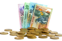 New Zealand Dollar Banknotes and Coins Royalty Free Stock Images