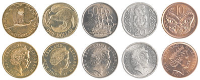 New Zealand dollar coins collection set Stock Photography