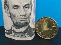 New Zealand dollar versus US dollar Royalty Free Stock Photos