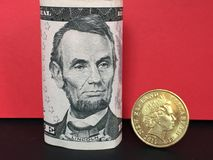 New Zealand dollar versus US dollar Royalty Free Stock Image