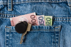 New Zealand dollars and keys in jeans pocket Stock Image