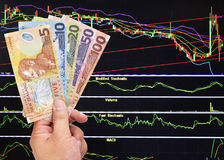 New zealand doller bill on stock market background. Man`s hand holding new zealand doller bill on stock market background Stock Photography