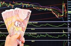New zealand doller bill on stock market background. Man`s hand holding new zealand doller bill on stock market background Royalty Free Stock Photography