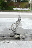 New Zealand Earthquake damage road cracks Stock Photos