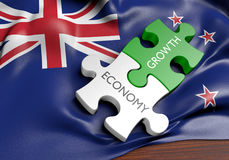 New Zealand economy and financial market growth concept. 3D rendered concept of New Zealand`s economy and financial market growth royalty free illustration