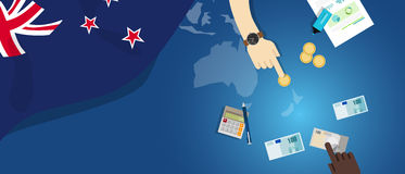 New Zealand economy fiscal money trade concept illustration of financial banking budget with flag map and currency Royalty Free Stock Photography