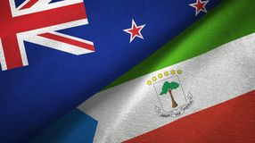 New Zealand and Equatorial Guinea two flags textile cloth, fabric texture. New Zealand and Equatorial Guinea two folded flags together vector illustration
