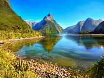 New Zealand, Fiordland, Scenic Mountains Landscape. A scenic fjord - Milford Sound, Fiordland National Park. South Island, New Zealand`s most famous tourist Stock Photo