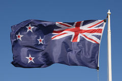 New Zealand Flag. The New Zealand flag flying in bright sunshine Royalty Free Stock Photos