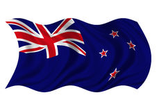 New Zealand Flag. The Flag New Zealand on white background billowing in the wind Royalty Free Stock Photos