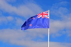 New Zealand Flag Alicante 2017. The Kiwi flag flying in Alicante harbour during the Volvo ocean race stock image