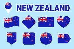 New Zealand flag collection. Vector flat isolated icons with state name. Traditional colors. New Zealand`s flags set. Web, sports. Pages, national, travel stock illustration