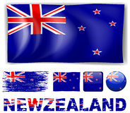 New Zealand flag in different designs and wording Royalty Free Stock Photo