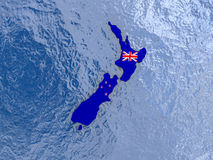 New Zealand with flag on globe Royalty Free Stock Photography