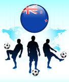 New Zealand Flag Icon with Soccer Team Royalty Free Stock Image