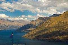 New Zealand flag with mountain Stock Photo