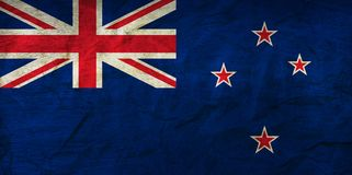 New Zealand Flag on Paper. Flag on an old Paper Texture Stock Photo