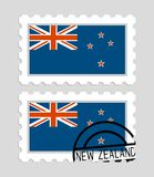 New zealand flag on postage stamp Stock Images