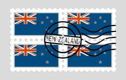 New zealand flag on postage stamp Royalty Free Stock Photos