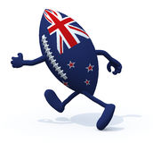 New Zealand flag on rugby ball with arms and legs that run away Royalty Free Stock Images