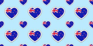 New Zealand flag seamless pattern. Vector flags stikers. Love hearts symbols. Texture for language courses, sports pages, travel, stock illustration