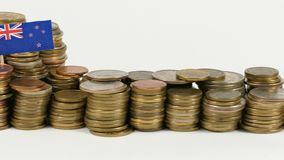 New Zealand flag with stack of money coins. New Zealand flag waving with stack of money coins stock footage