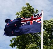 New Zealand Flag waving royalty free stock photography