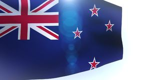 New Zealand flag waving in the wind wave stock video