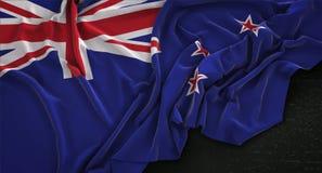 New Zealand Flag Wrinkled On Dark Background 3D Render Royalty Free Stock Images