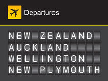 New Zealand flip alphabet airport departures, New Zealand, Auckland, Wellington, New Plymouth Stock Photo