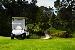 New Zealand Golf Course Golfers Kart by bridge Royalty Free Stock Photography