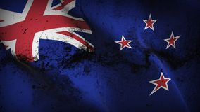 New Zealand grunge dirty flag waving on wind. New Zealand background fullscreen grease flag blowing on wind. Realistic filth fabric texture on windy day Stock Image