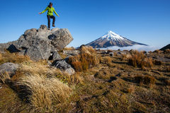 New Zealand hiking. Young woman in New Zealand scenery Royalty Free Stock Photography