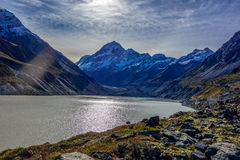 New Zealand 53. Hooker glacier lake in Aoraki National Park New Zealand Royalty Free Stock Images