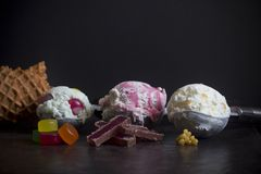 New Zealand Ice Cream Flavors. Hokey Pokey, Goodie Gum Drops and Jelly Tip - Selective Focus stock image