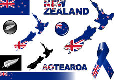 New Zealand Icon Set Stock Images