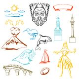 New Zealand icons set. Oceanian traditional symbols and attractions stock illustration