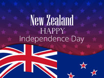 New Zealand Independence Day. Festive banner with flag and text. Vector. Illustration Stock Images