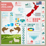 New Zealand  infographics, statistical data, sights. Stock Images