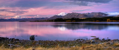 New Zealand Lake Panorama Stock Photo
